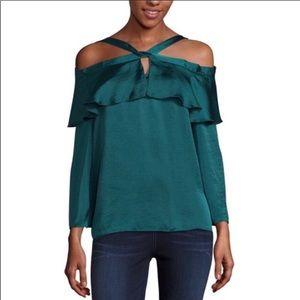 Libby Edelman nwot emerald green cold shoulder top
